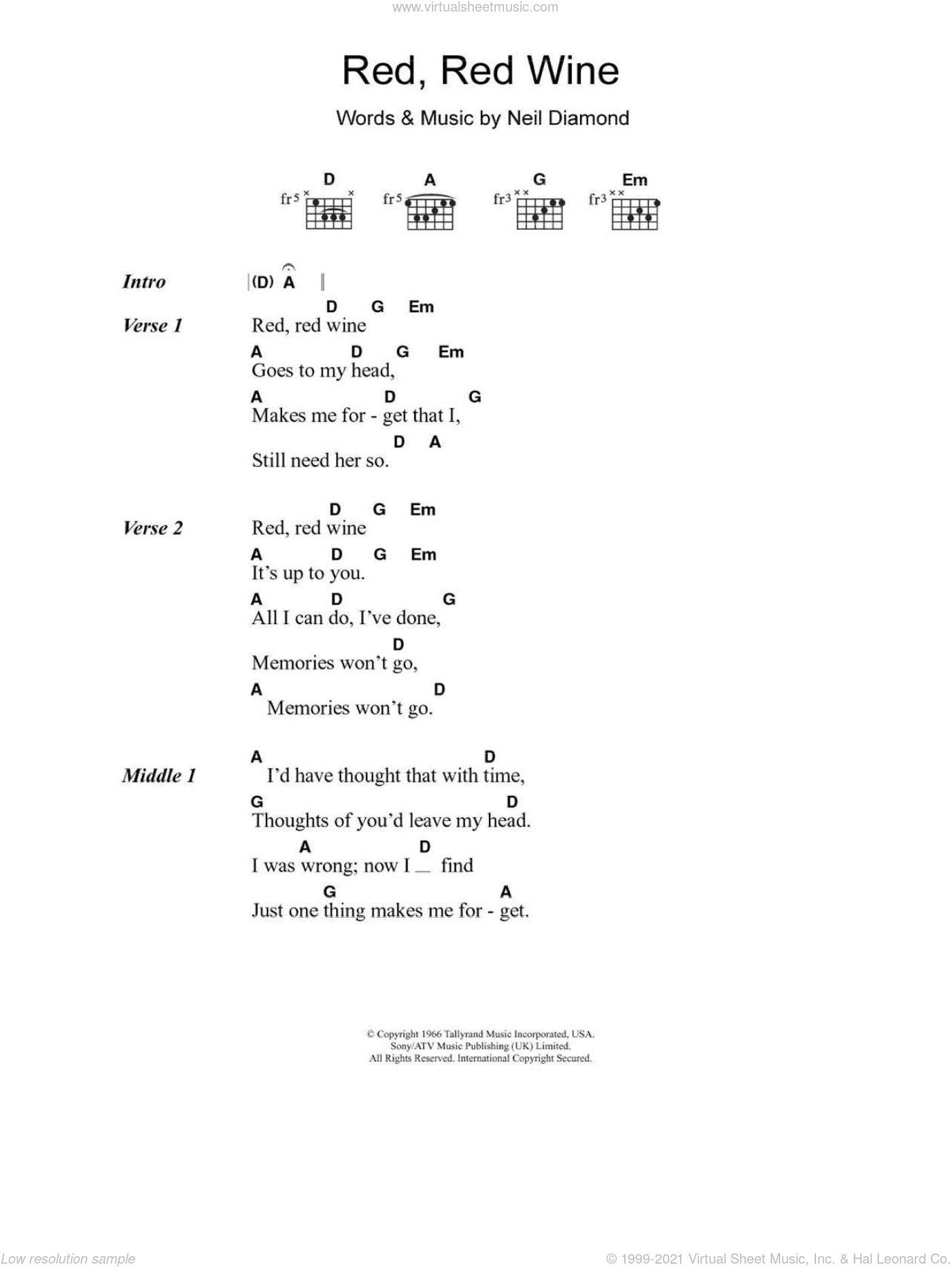 Red, Red Wine sheet music for guitar (chords) by Tony Tribe, UB40 and Neil Diamond, intermediate. Score Image Preview.