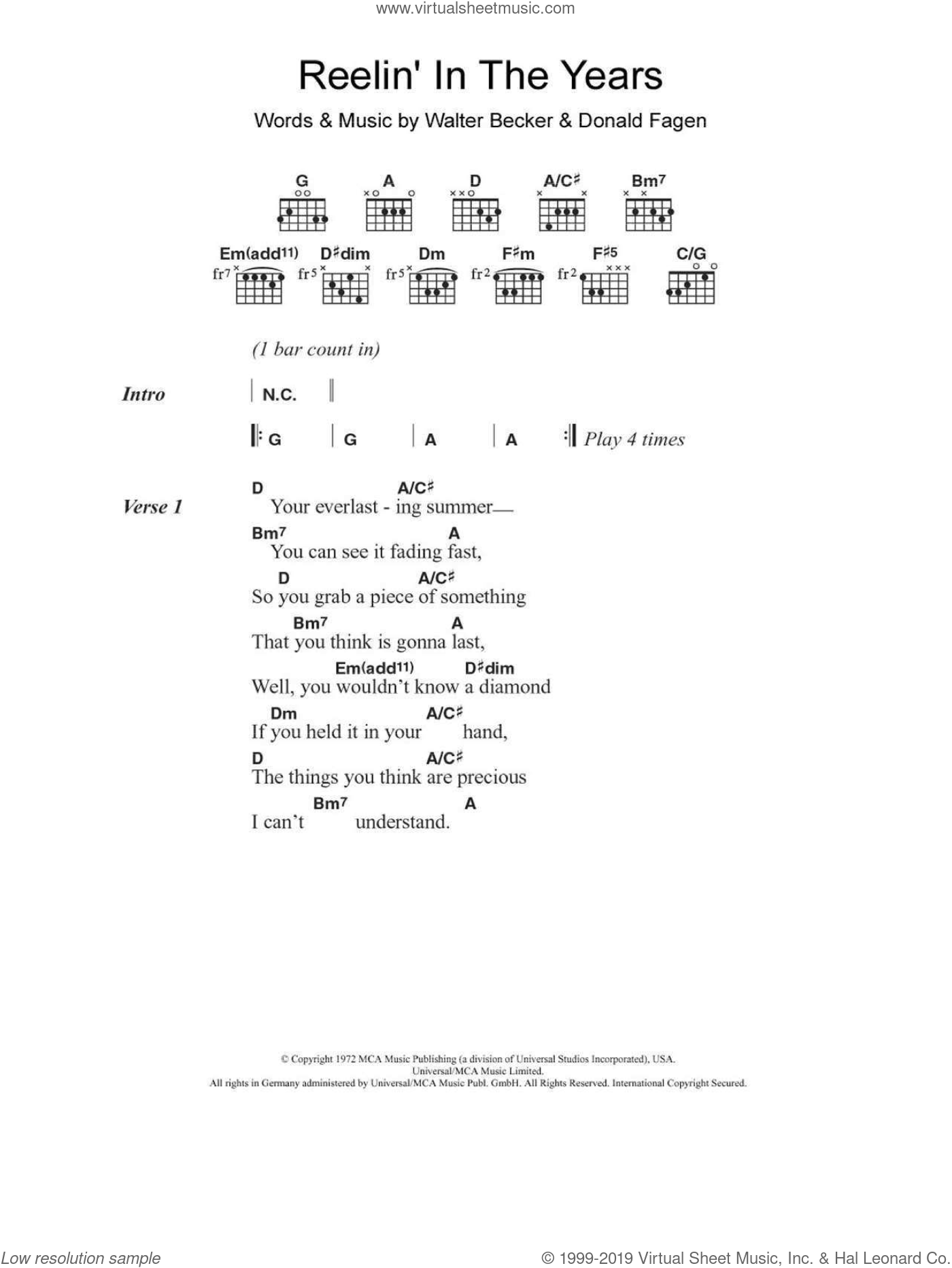 Reelin' In The Years sheet music for guitar (chords) by Walter Becker and Donald Fagen. Score Image Preview.