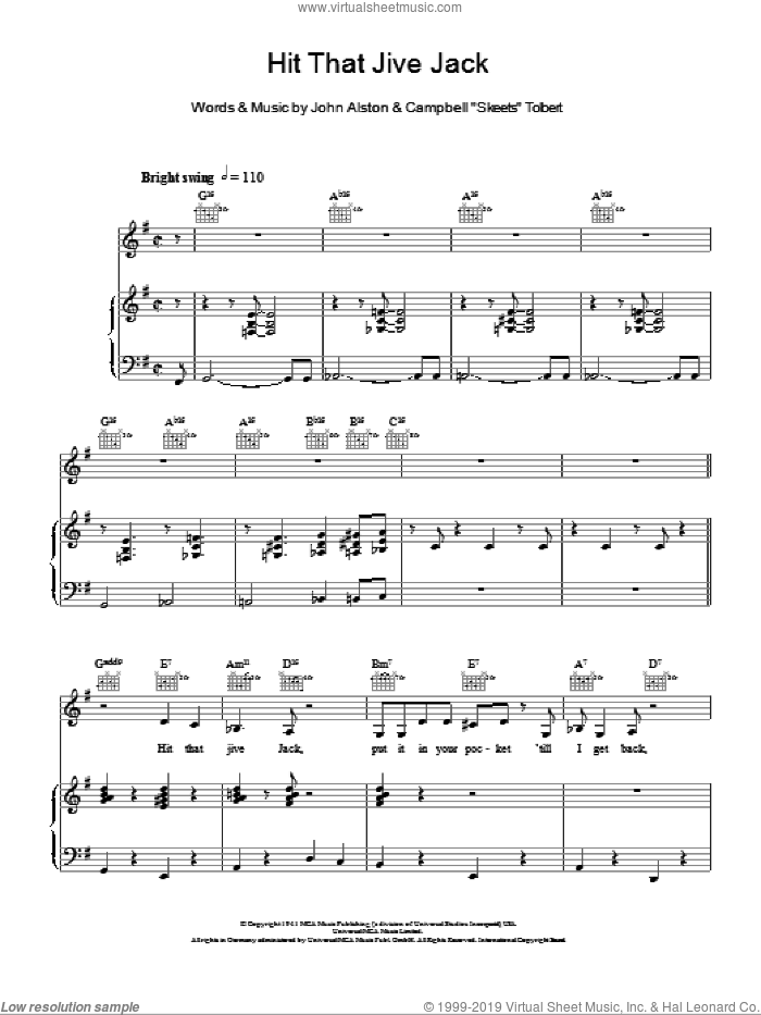 Hit That Jive Jack sheet music for voice, piano or guitar by John Alston