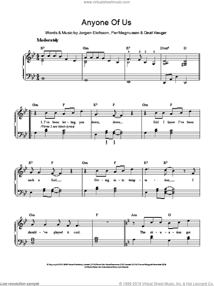 Anyone Of Us (Stupid Mistake) sheet music for piano solo by Per Magnusson, Gareth Gates, David Kreuger and Jorgen Elofsson. Score Image Preview.