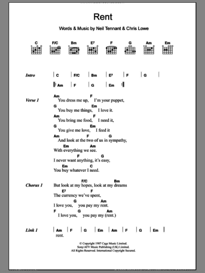 Rent sheet music for guitar (chords) by The Pet Shop Boys, intermediate. Score Image Preview.