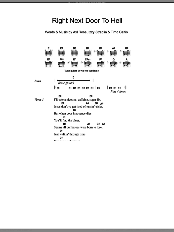 Right Next Door To Hell sheet music for guitar (chords) by Timo Caltio, Axl Rose and Izzy Stradlin. Score Image Preview.