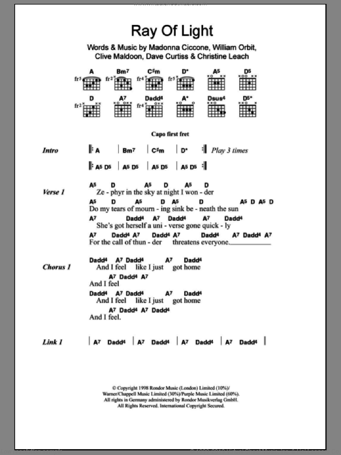 Ray Of Light sheet music for guitar (chords) by Madonna, Christine Leach and William Orbit, intermediate. Score Image Preview.