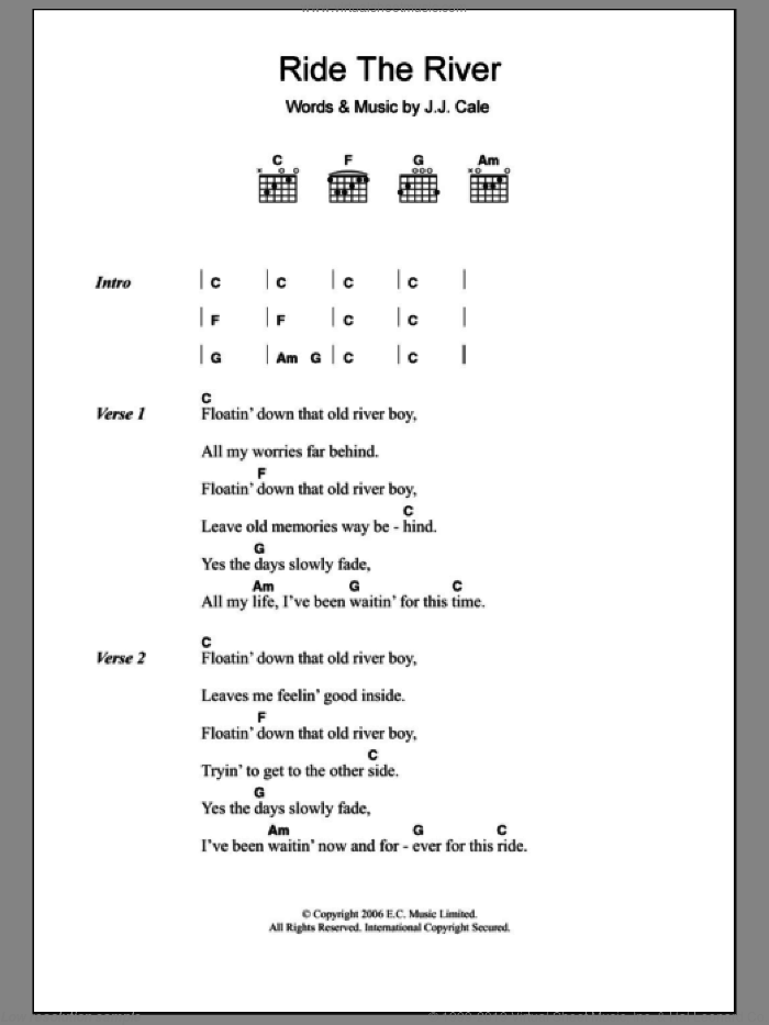 Ride The River sheet music for guitar (chords) by Eric Clapton and John Cale, intermediate