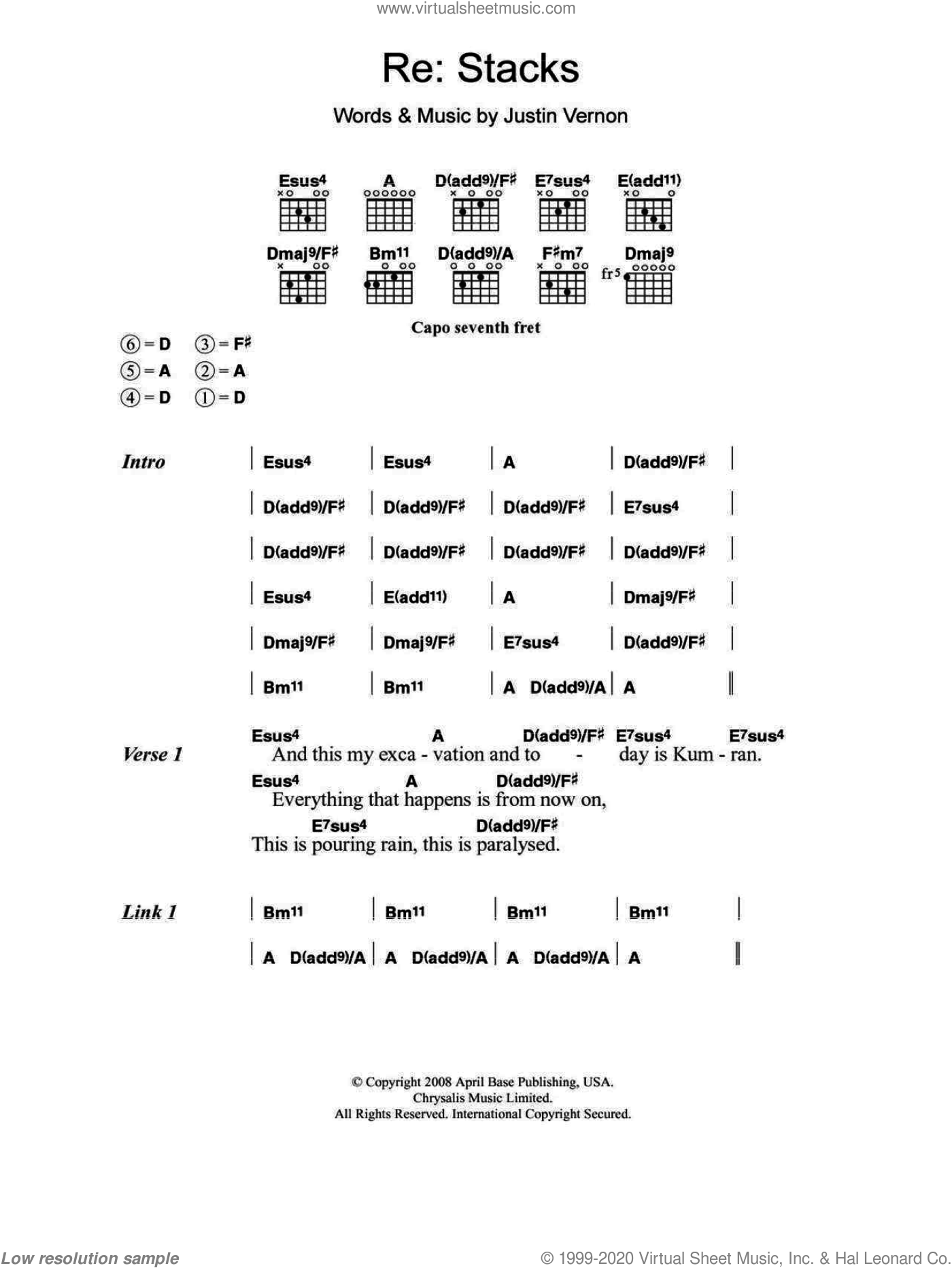 Re: Stacks sheet music for guitar (chords) by Justin Vernon