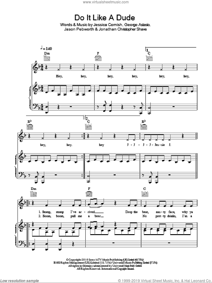 Do It Like A Dude sheet music for voice, piano or guitar by Jessie J and Jessica Cornish. Score Image Preview.