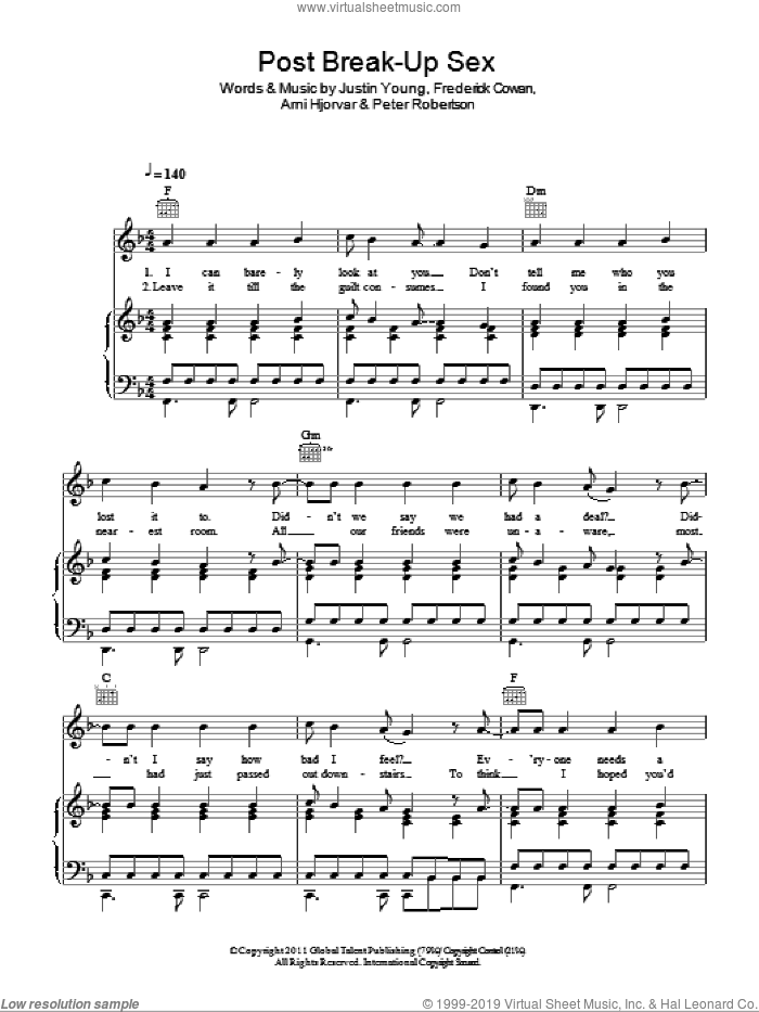 Post Break-Up Sex sheet music for voice, piano or guitar by The Vaccines, Arni Hjorvar, Frederick Cowan, Justin Young and Peter Robertson, intermediate skill level