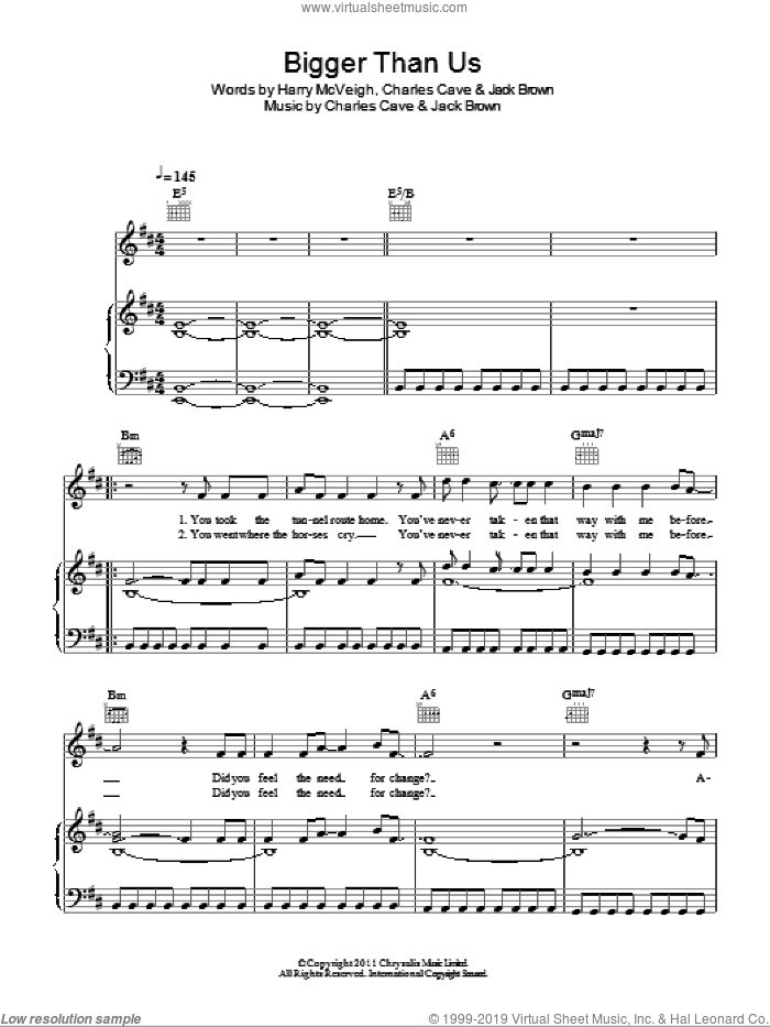 Bigger Than Us sheet music for voice, piano or guitar by Jack Brown and Charles Cave. Score Image Preview.