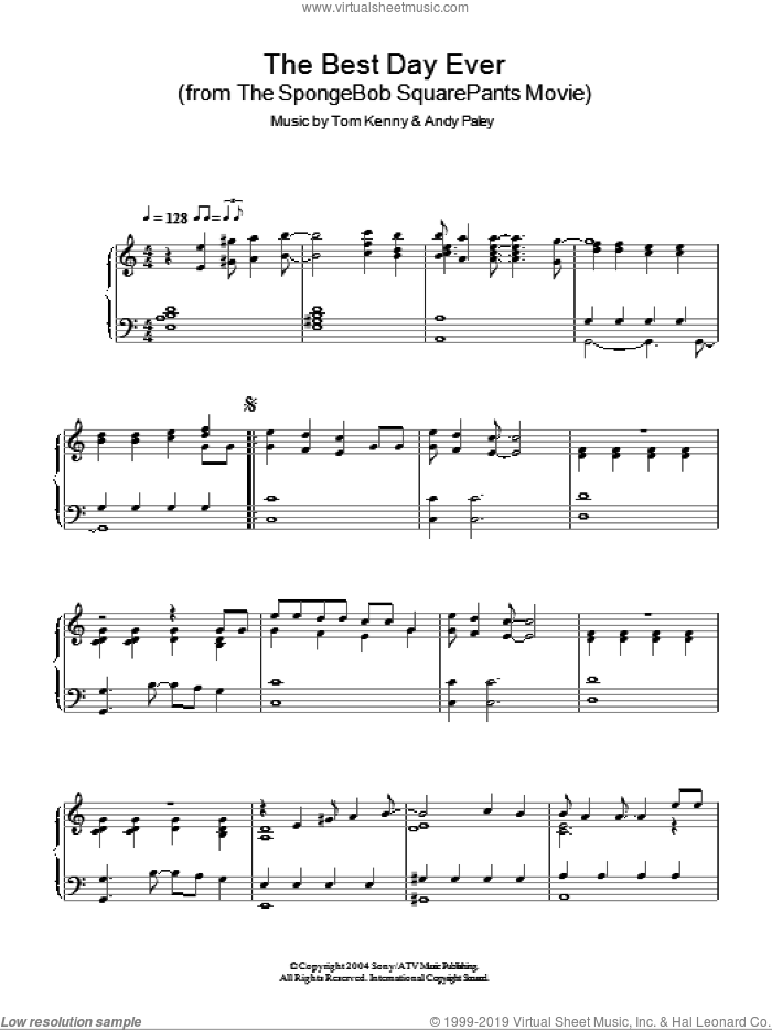 The Best Day Ever sheet music for piano solo by SpongeBob SquarePants, Andy Paley and Tom Kenny. Score Image Preview.