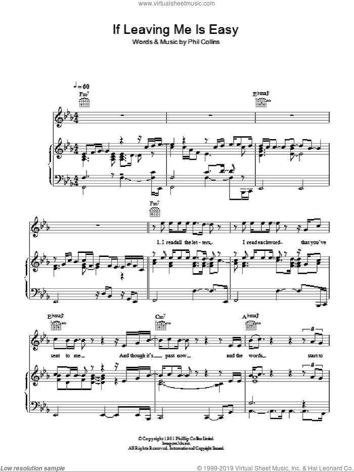 If Leaving Me Is Easy sheet music for voice, piano or guitar by Phil Collins. Score Image Preview.