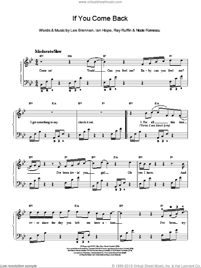 If You Come Back sheet music for piano solo. Score Image Preview.