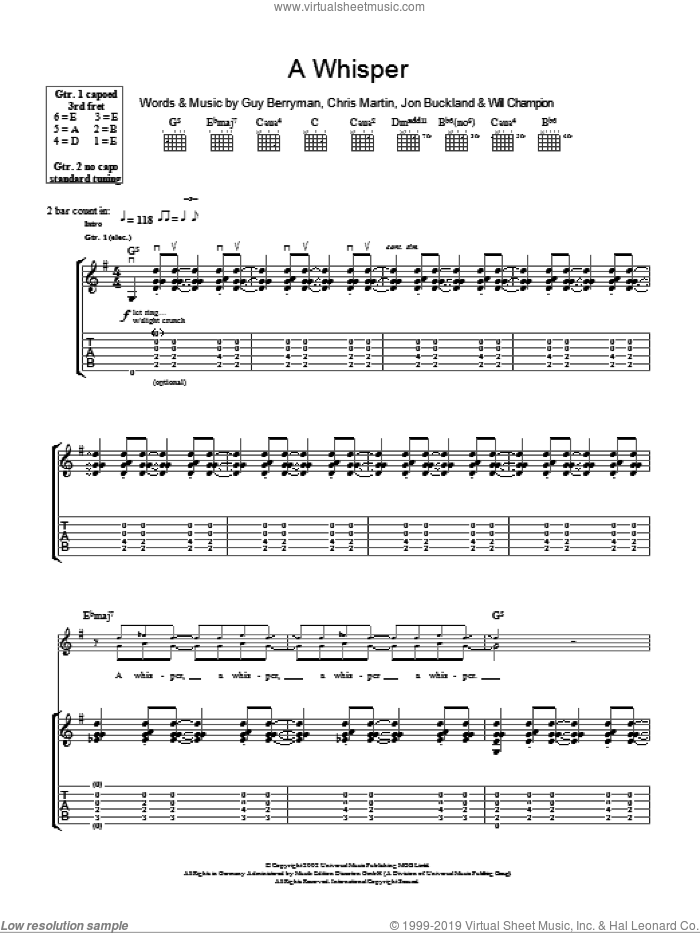 A Whisper sheet music for guitar (tablature) by Will Champion