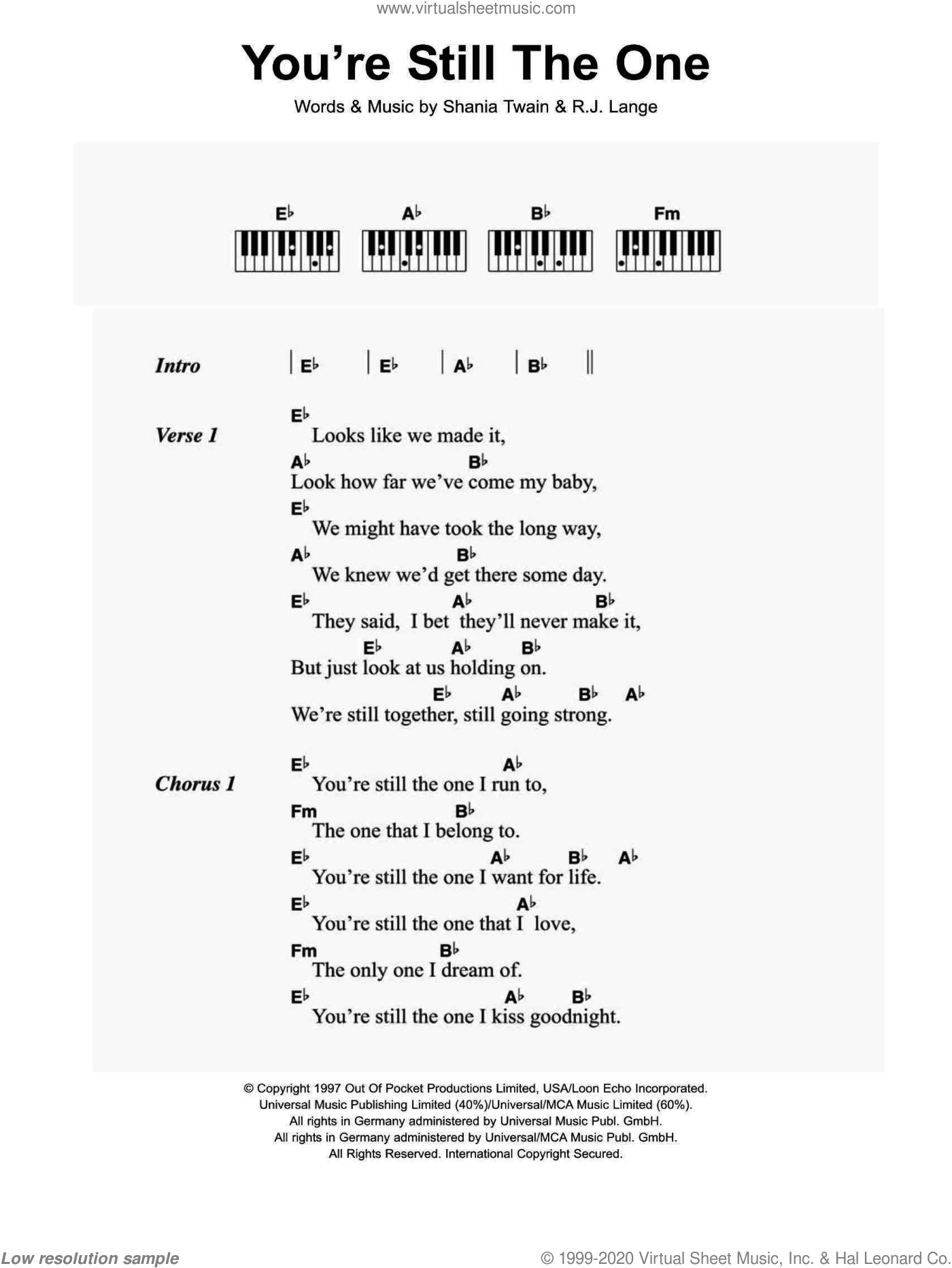 You're Still The One sheet music for piano solo (chords, lyrics, melody) by Robert John Lange and Shania Twain. Score Image Preview.