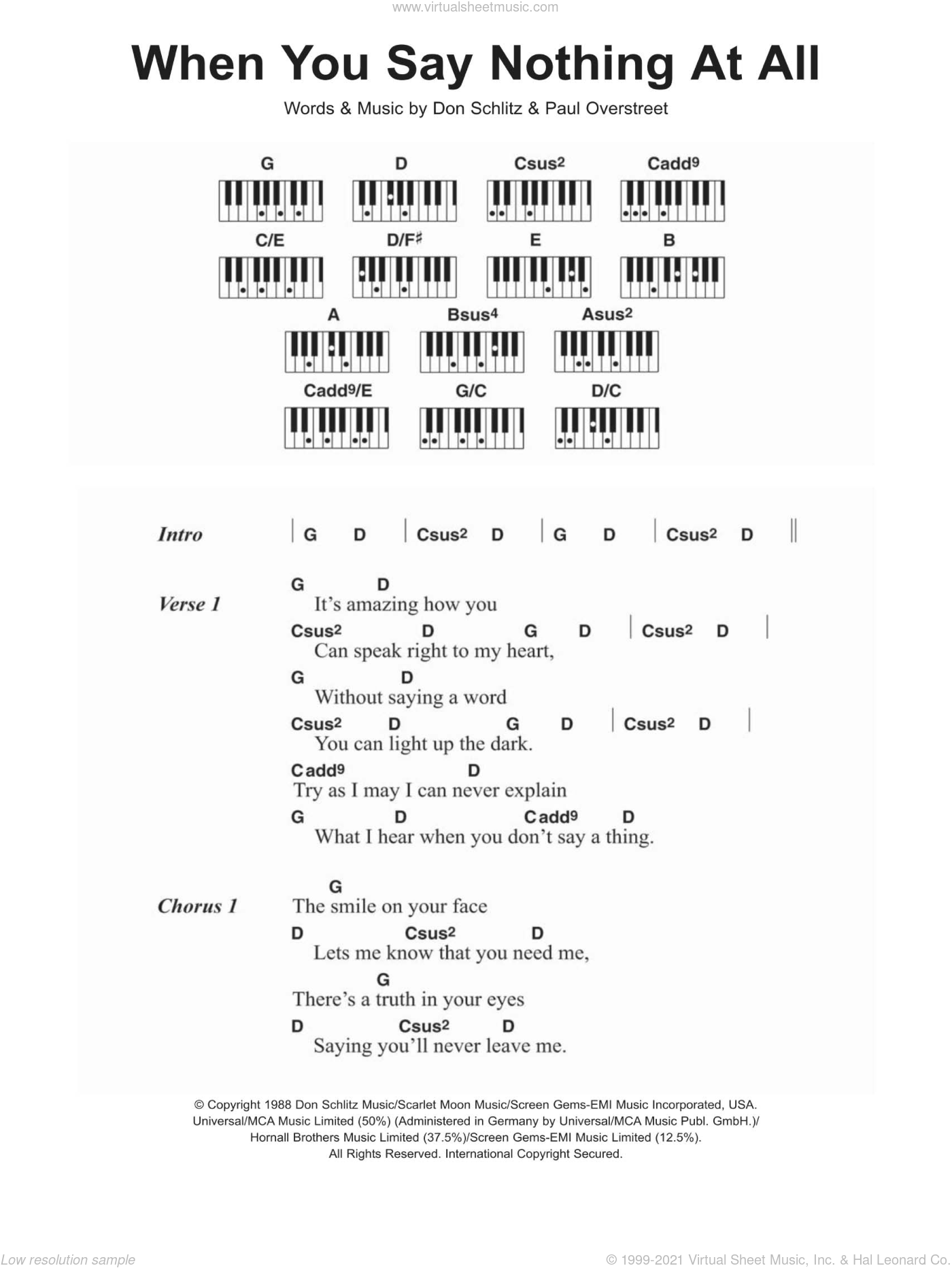 When You Say Nothing At All sheet music for piano solo (chords, lyrics, melody) by Ronan Keating, Alison Krauss, Don Schlitz and Paul Overstreet, intermediate piano (chords, lyrics, melody). Score Image Preview.