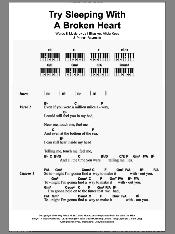 Try Sleeping With A Broken Heart sheet music for piano solo (chords, lyrics, melody) by Patrick Reynolds
