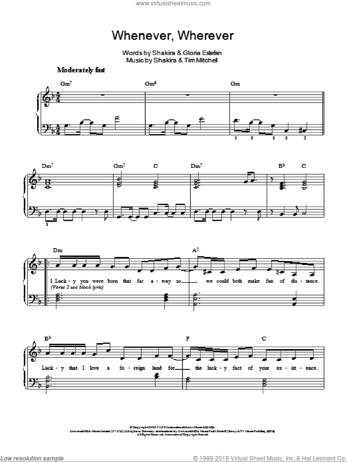 Whenever, Wherever sheet music for piano solo by Shakira, Gloria Estefan and Tim Mitchell, easy skill level