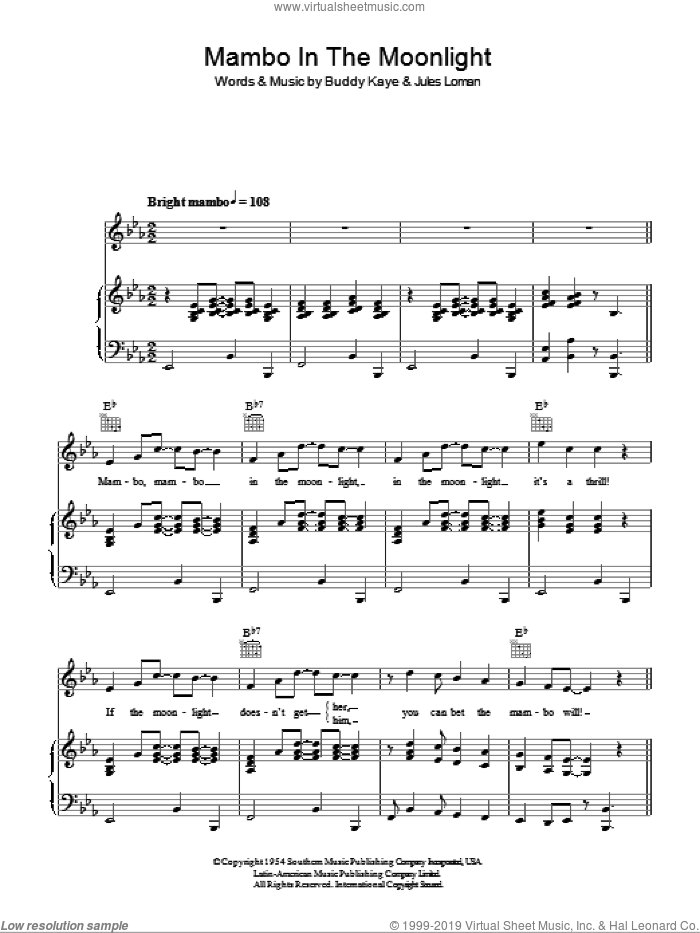 Mambo In The Moonlight sheet music for voice, piano or guitar by Jules Loman and Buddy Kaye. Score Image Preview.