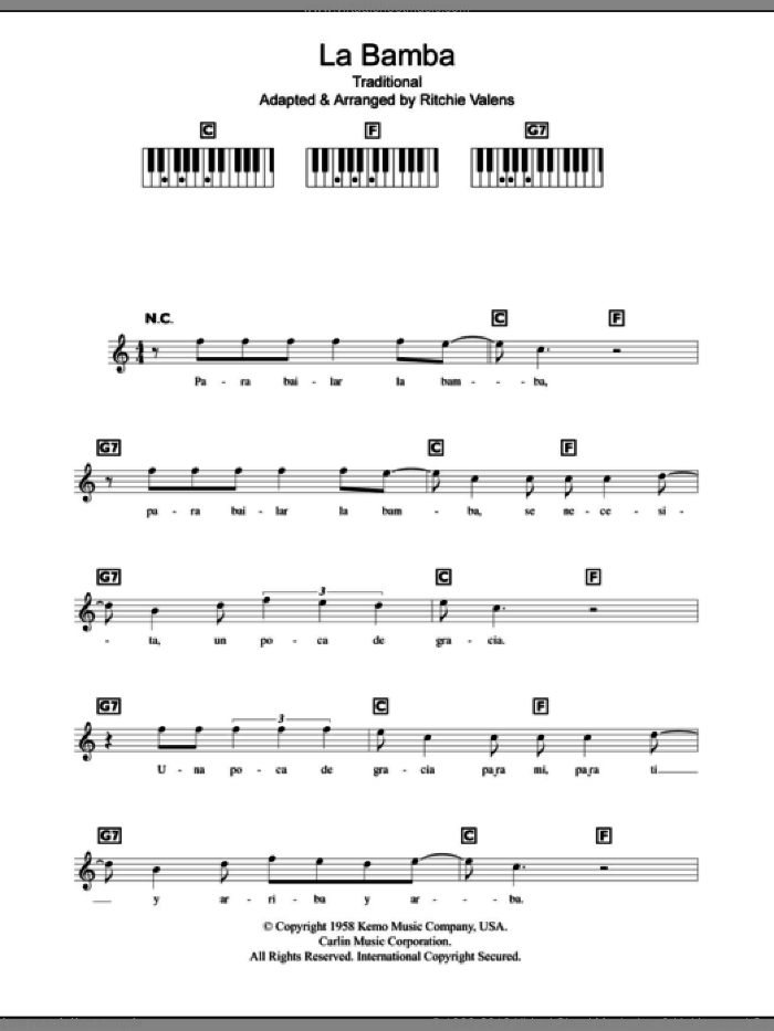 La Bamba sheet music for piano solo (chords, lyrics, melody) by Los Lobos and Ritchie Valens. Score Image Preview.