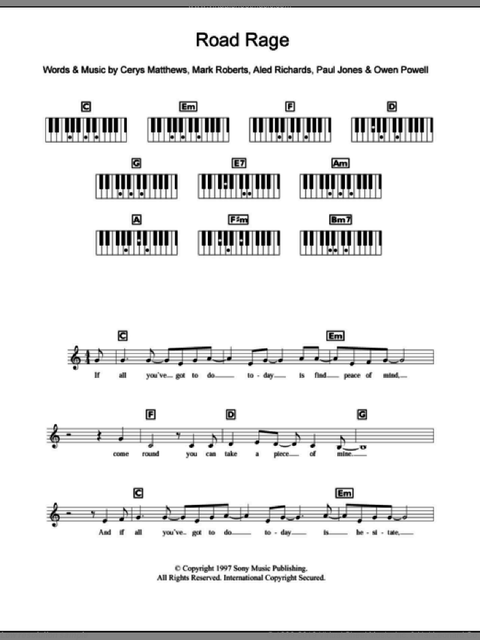 Road Rage sheet music for piano solo (chords, lyrics, melody) by Paul Jones, Catatonia, Aled Richards and Mark Roberts. Score Image Preview.