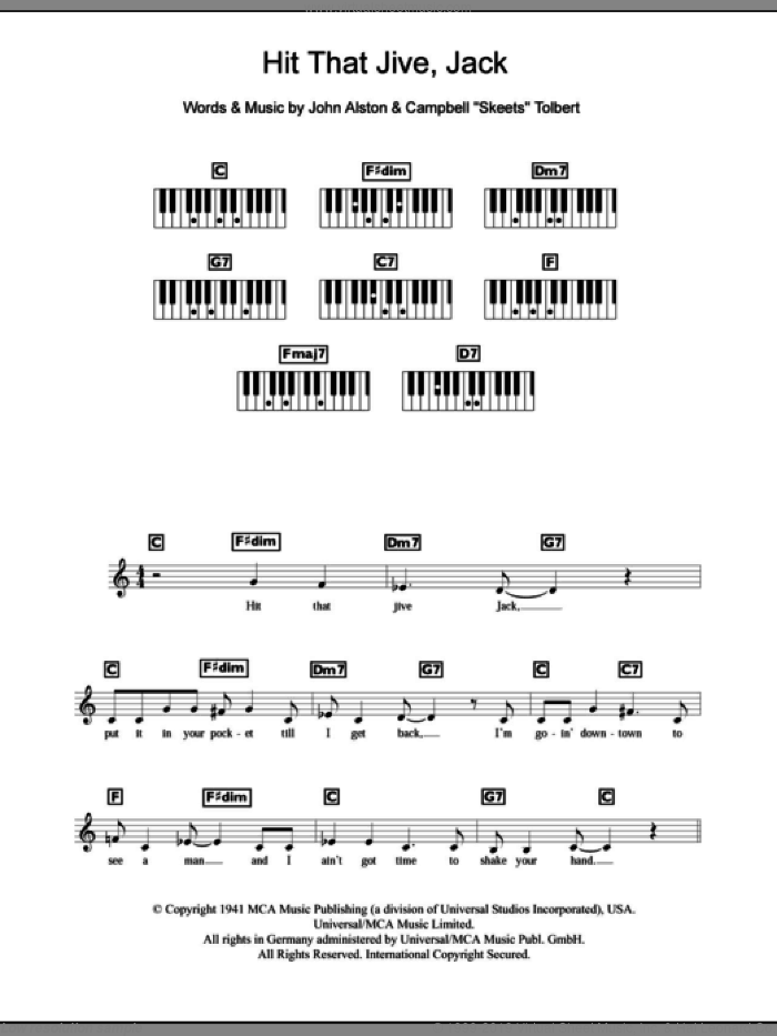 Hit That Jive Jack sheet music for piano solo (chords, lyrics, melody) by John Alston and Diana Krall. Score Image Preview.