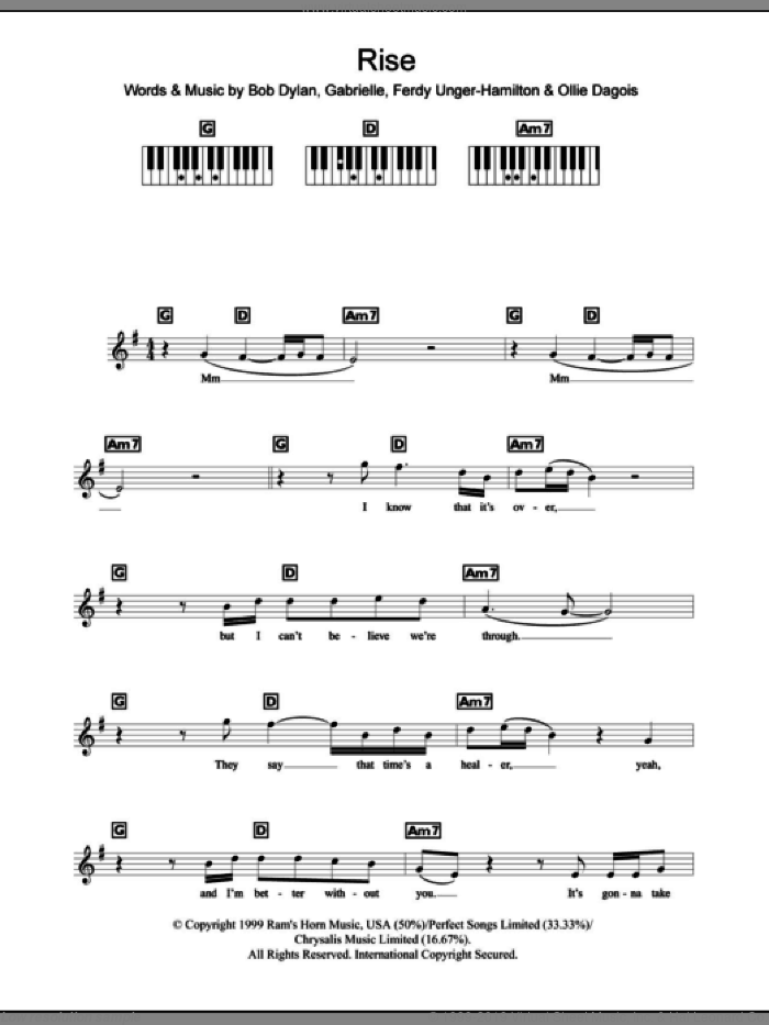 Rise sheet music for piano solo (chords, lyrics, melody) by Ollie Dagois, Bob Dylan and Gabrielle. Score Image Preview.