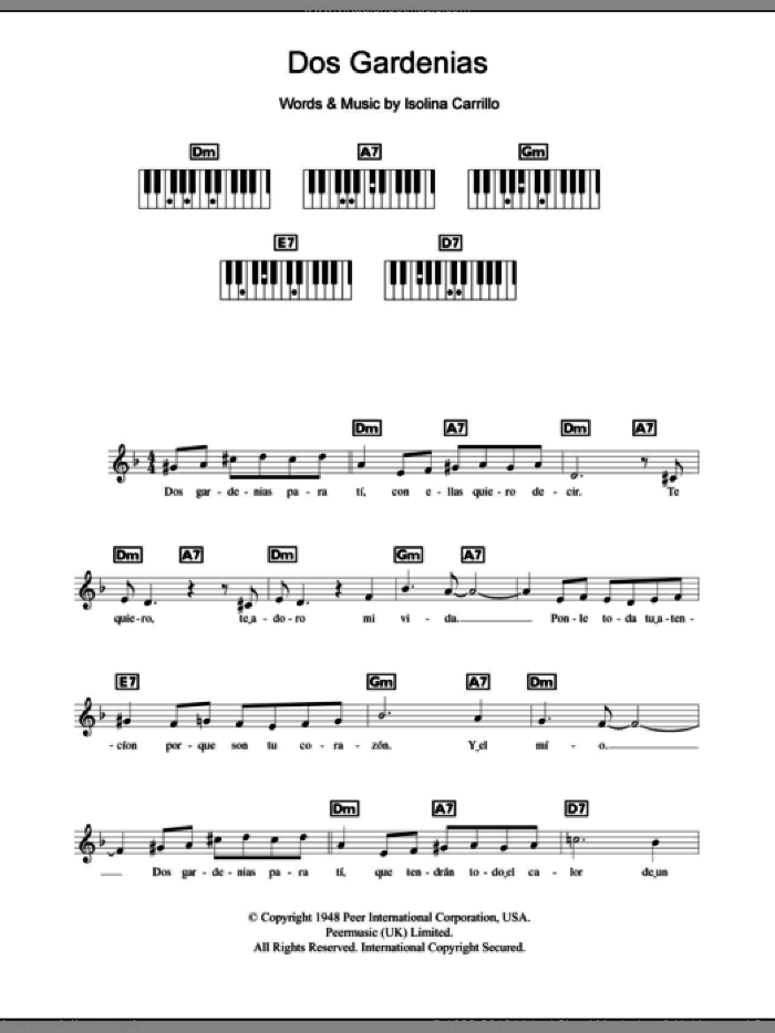 Dos Gardenias sheet music for piano solo (chords, lyrics, melody) by The Buena Vista Social Club and Isolina Carrillo, intermediate piano (chords, lyrics, melody)