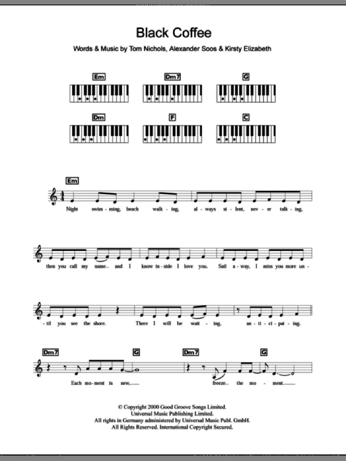 Black Coffee sheet music for piano solo (chords, lyrics, melody) by Tom Nichols and All Saints. Score Image Preview.