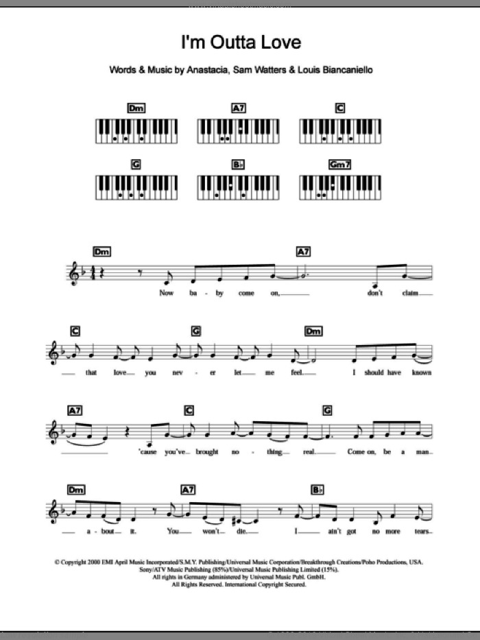 I'm Outta Love sheet music for piano solo (chords, lyrics, melody) by Sam Watters