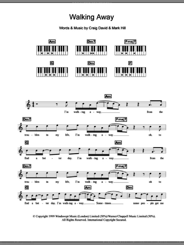 David - Walking Away sheet music for piano solo (chords, lyrics, melody)