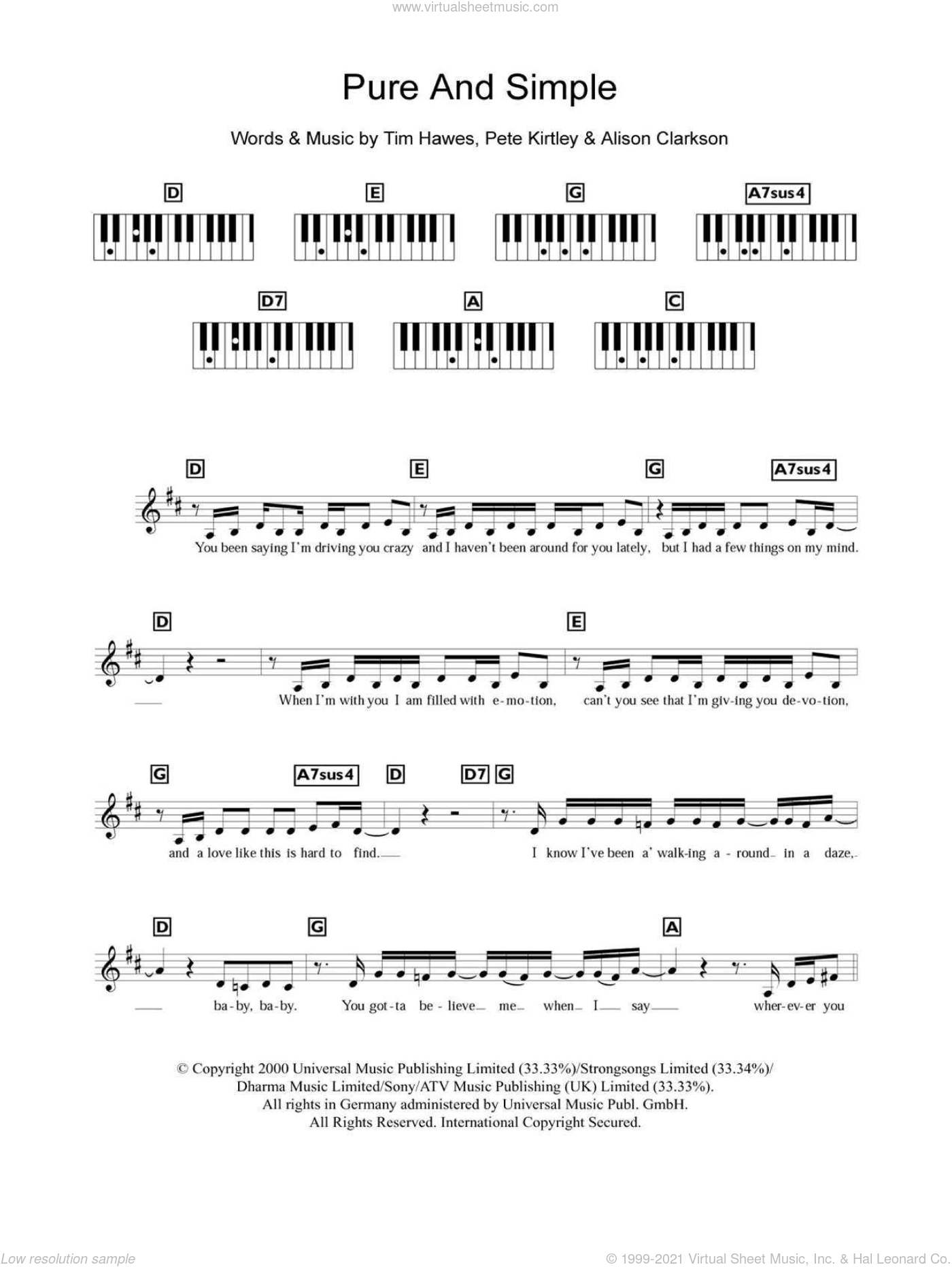Pure And Simple sheet music for piano solo (chords, lyrics, melody) by Tim Hawes. Score Image Preview.