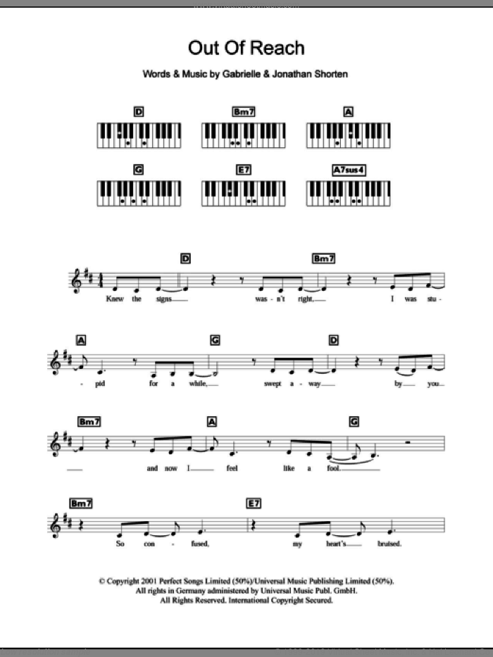 Out Of Reach sheet music for piano solo (chords, lyrics, melody) by Gabrielle. Score Image Preview.