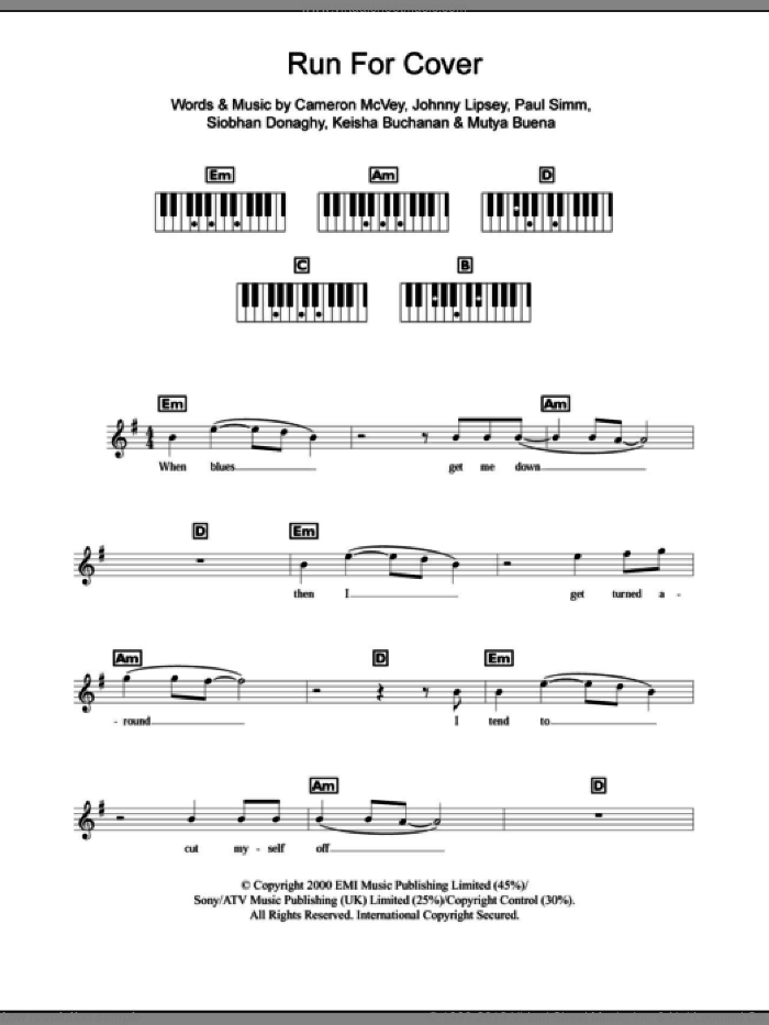 Run For Cover sheet music for piano solo (chords, lyrics, melody) by Siobhan Donaghy, Sugababes and Mutya Buena. Score Image Preview.