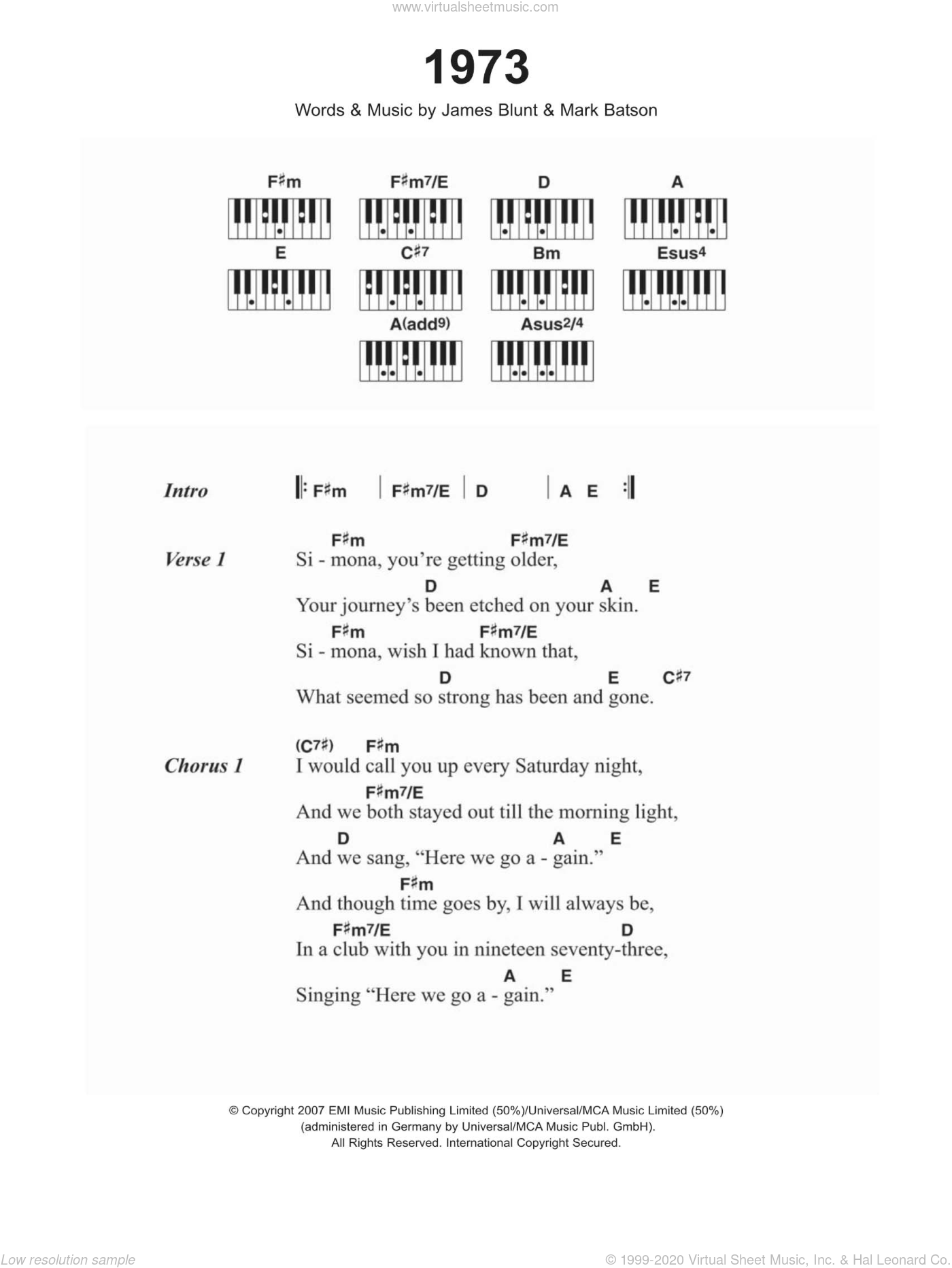 1973 sheet music for piano solo (chords, lyrics, melody) by James Blunt and Mark Batson, intermediate piano (chords, lyrics, melody)