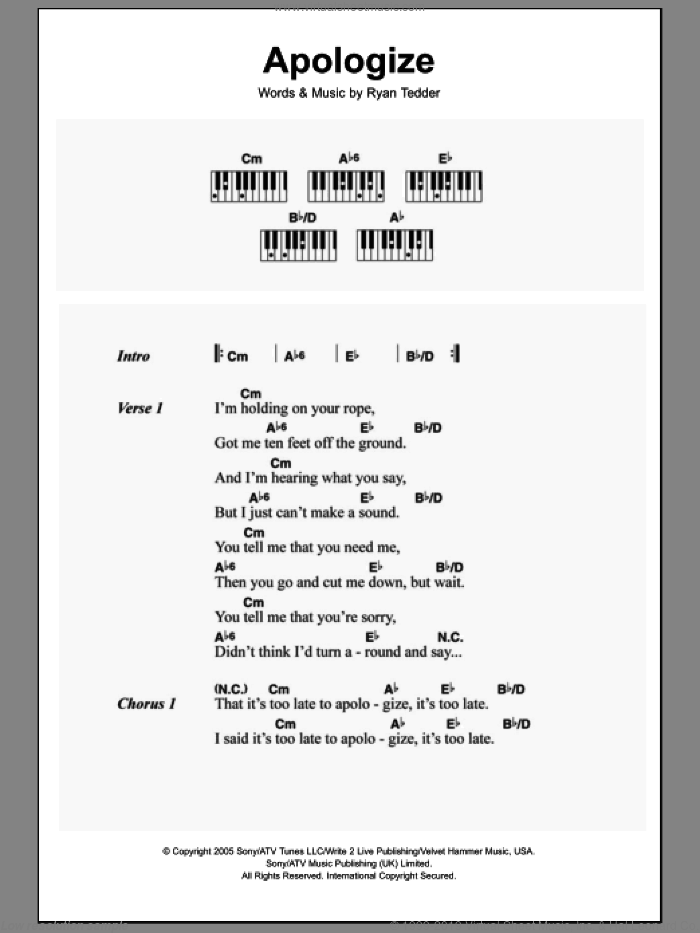 Apologize sheet music for piano solo (chords, lyrics, melody) by OneRepublic, Timbaland and Ryan Tedder, intermediate piano (chords, lyrics, melody). Score Image Preview.