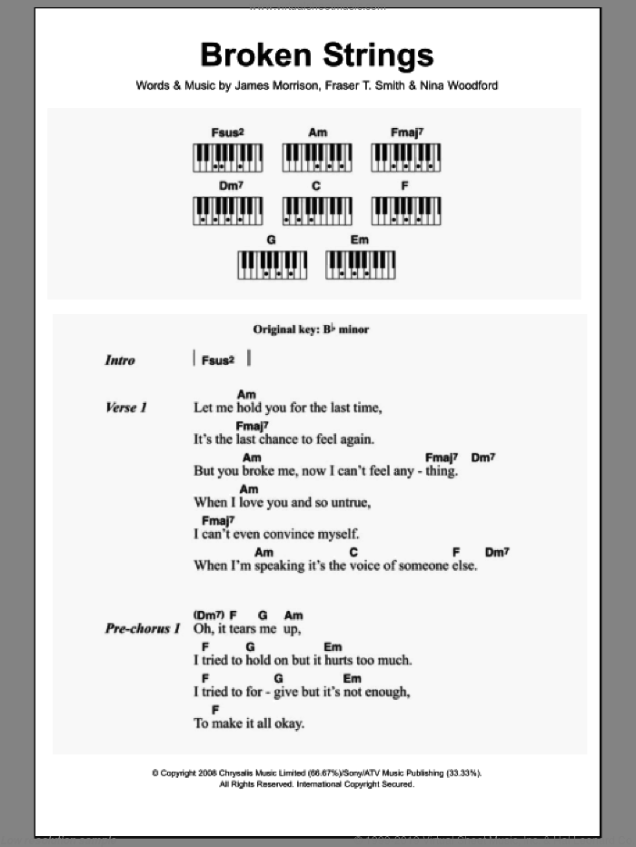 Broken Strings sheet music for piano solo (chords, lyrics, melody) by Nina Woodford