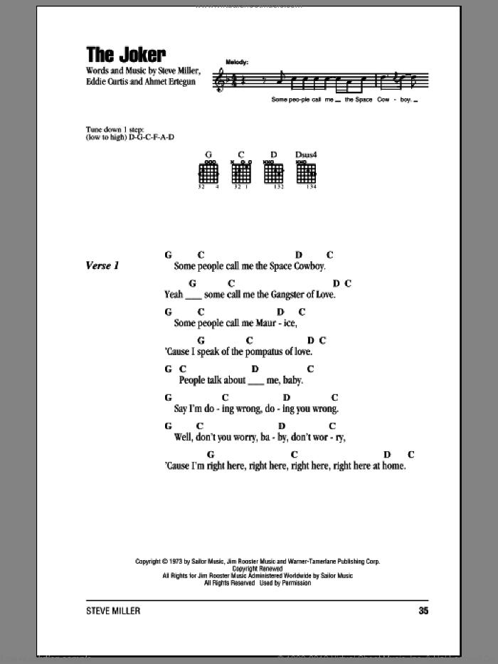 The Joker sheet music for guitar (chords) by Steve Miller Band, Ahmet Ertegun, Eddie Curtis and Steve Miller, intermediate skill level