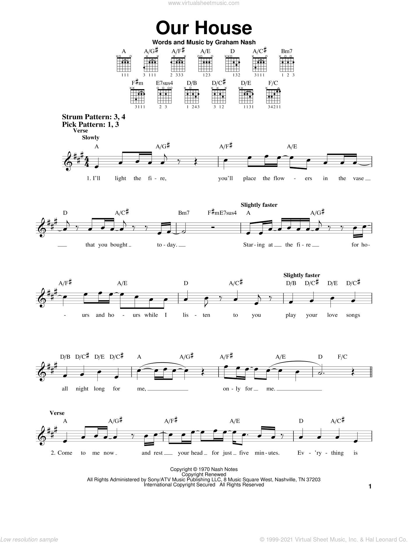 Our House sheet music for guitar solo (chords) by Crosby, Stills, Nash & Young and Graham Nash, easy guitar (chords)