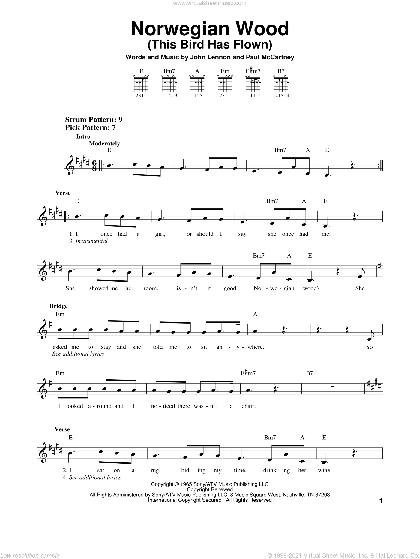 Norwegian Wood (This Bird Has Flown) sheet music for guitar solo (chords) by The Beatles, John Lennon and Paul McCartney, easy guitar (chords). Score Image Preview.