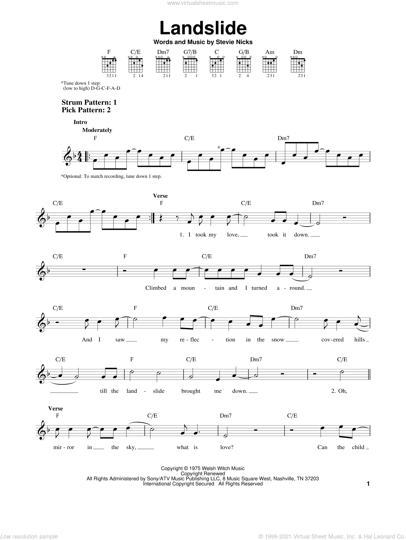 Landslide sheet music for guitar solo (chords) by Fleetwood Mac and Stevie Nicks, easy guitar (chords)