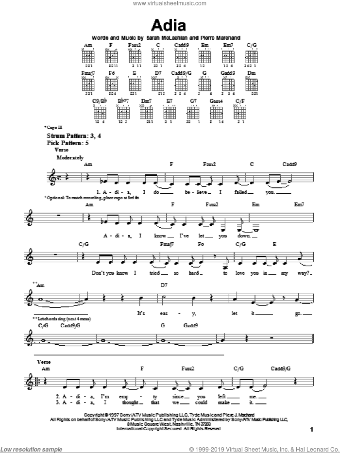 Adia sheet music for guitar solo (chords) by Sarah McLachlan and Pierre Marchand, easy guitar (chords)