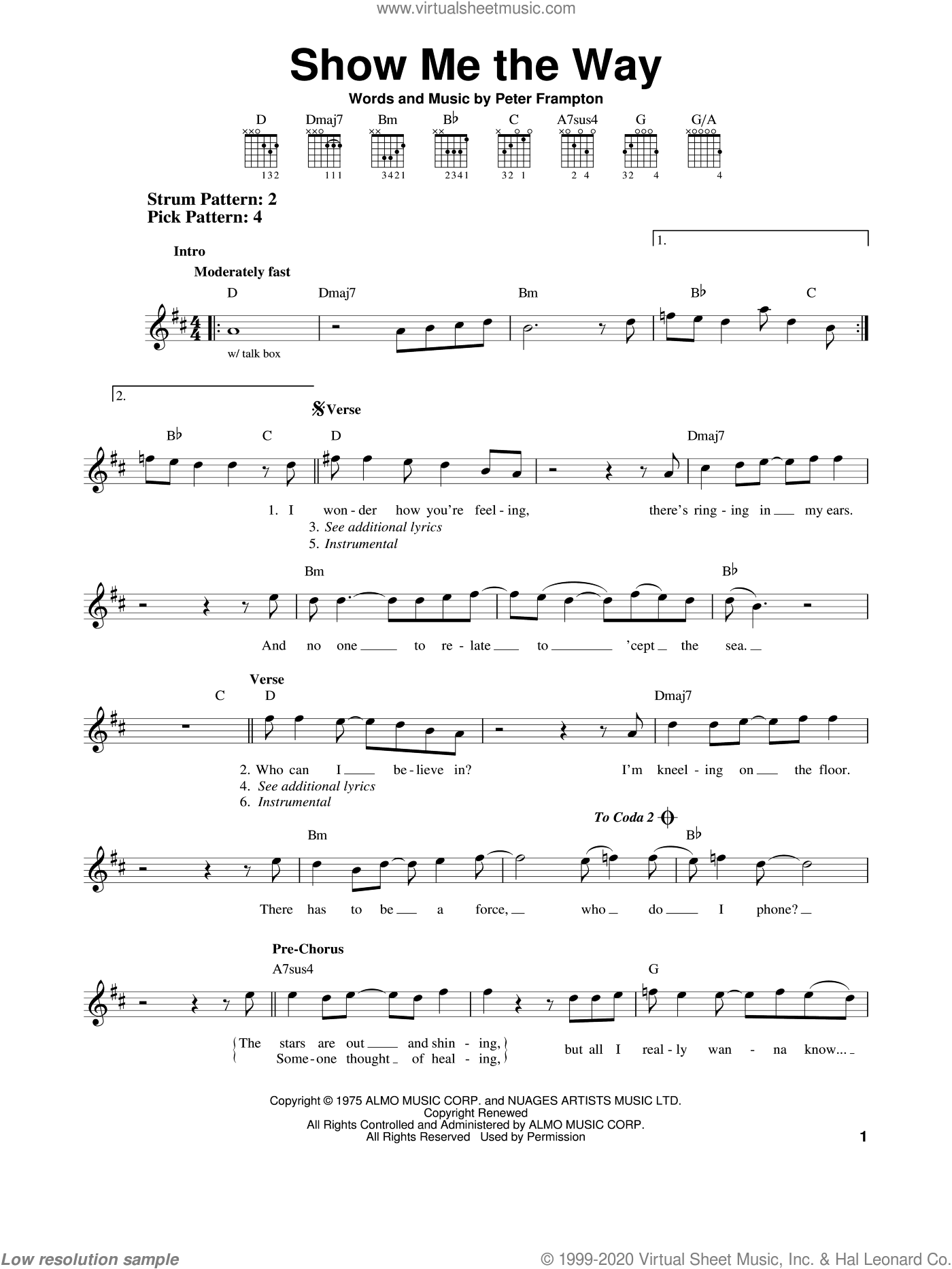 Show Me The Way sheet music for guitar solo (chords) by Peter Frampton, easy guitar (chords)
