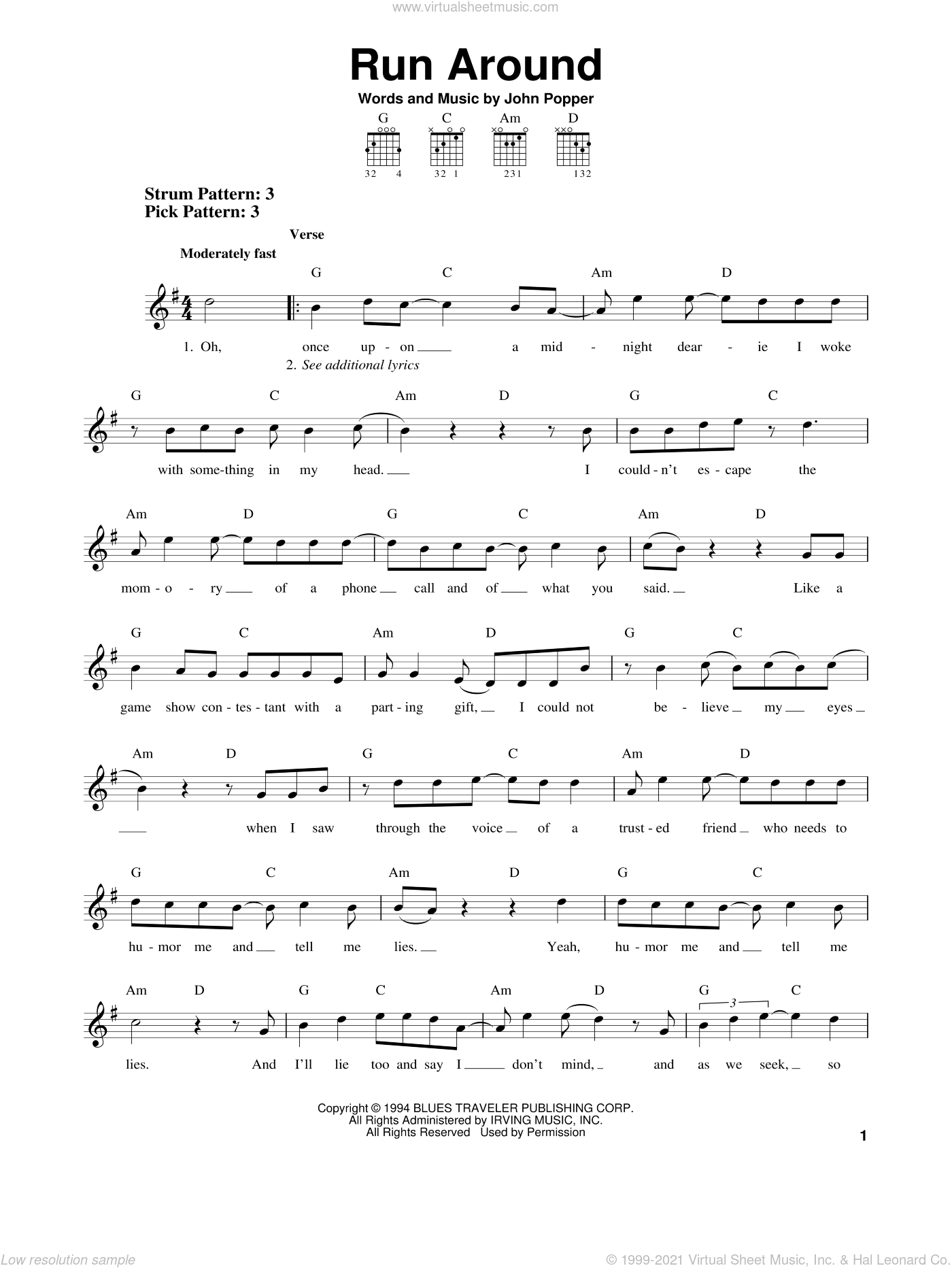 Run Around sheet music for guitar solo (chords) by Blues Traveler, easy guitar (chords). Score Image Preview.