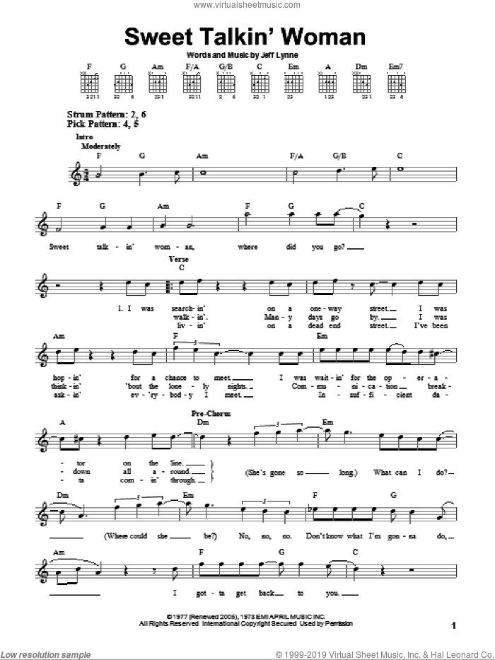 Sweet Talkin' Woman sheet music for guitar solo (chords) by Electric Light Orchestra and Jeff Lynne, easy guitar (chords)