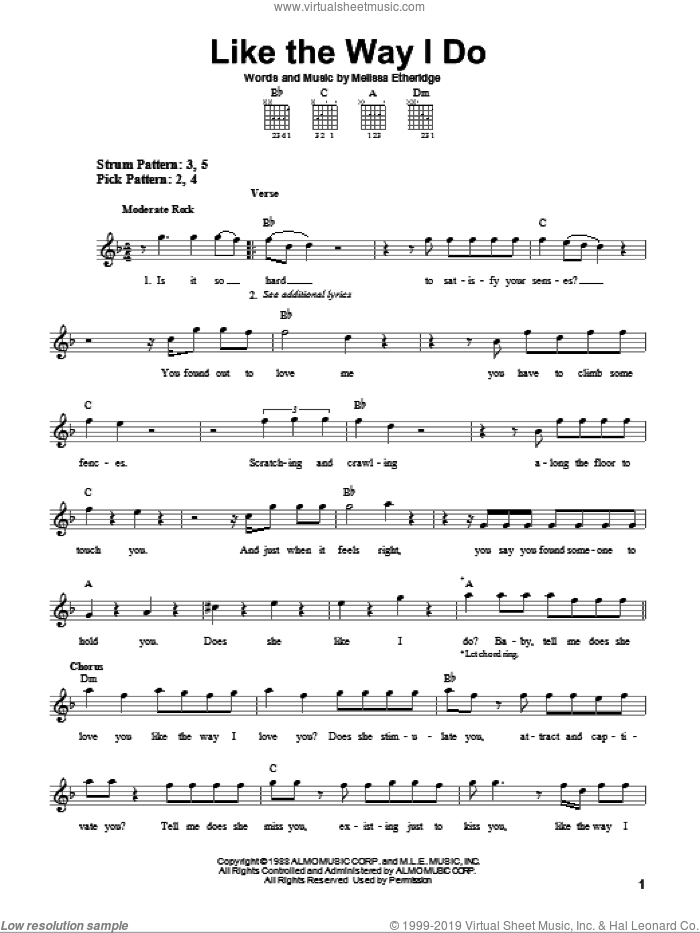 Etheridge - Like The Way I Do sheet music for guitar solo (chords)