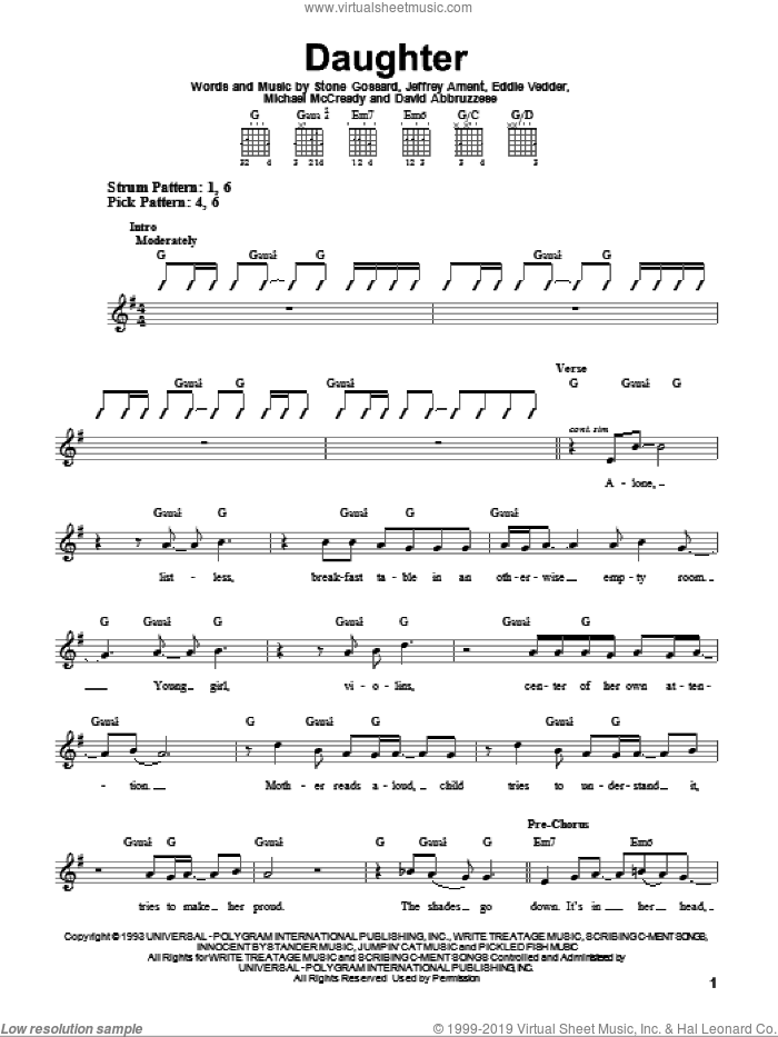 Daughter sheet music for guitar solo (chords) by Pearl Jam, David Abbruzzese, Eddie Vedder, Jeffrey Ament, Michael McCready and Stone Gossard, easy guitar (chords)