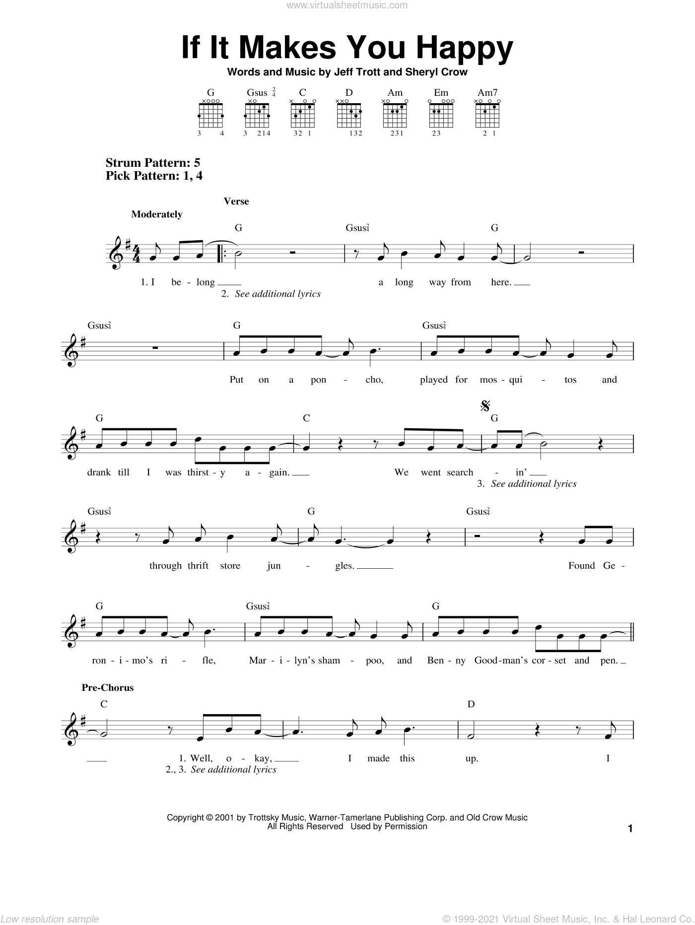 If It Makes You Happy sheet music for guitar solo (chords) by Sheryl Crow and Jeff Trott. Score Image Preview.