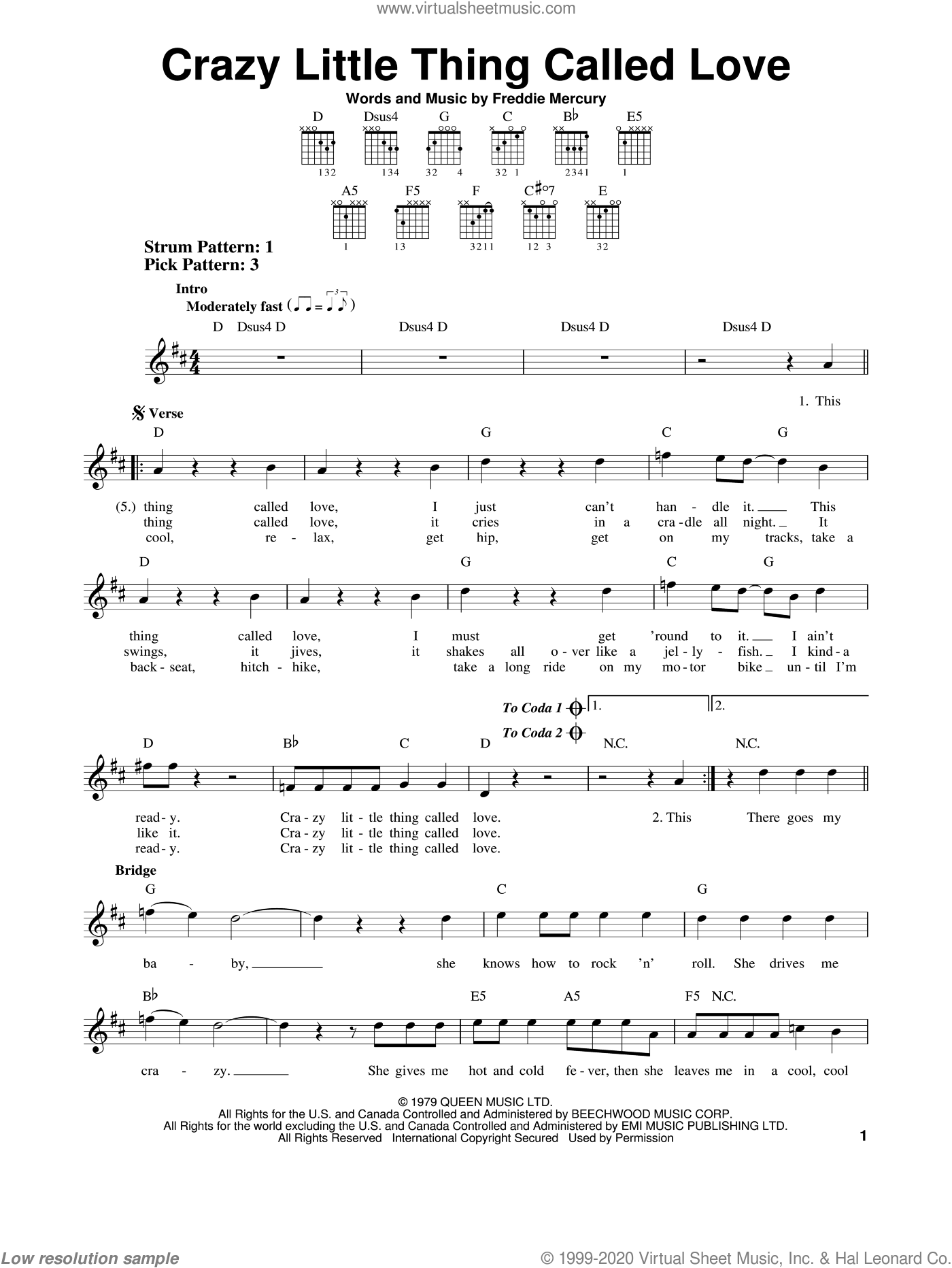 Crazy Little Thing Called Love sheet music for guitar solo (chords) by Queen and Freddie Mercury, easy guitar (chords)