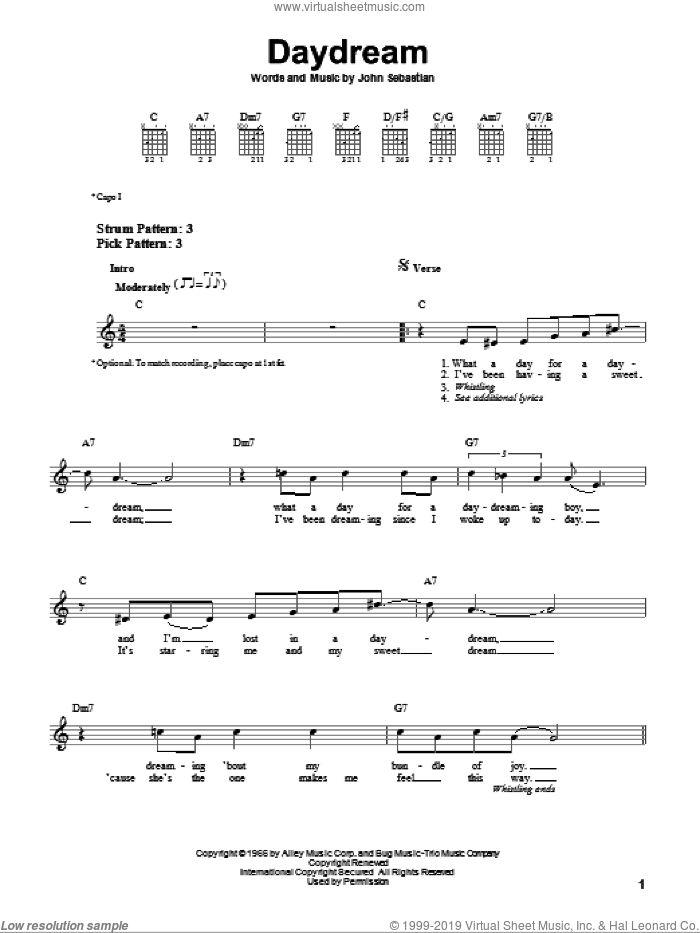 Daydream sheet music for guitar solo (chords) by The Lovin' Spoonful and John Sebastian, easy guitar (chords)