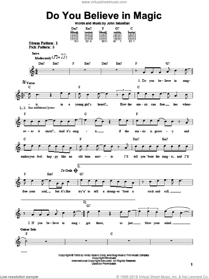 Do You Believe In Magic sheet music for guitar solo (chords) by The Lovin' Spoonful and John Sebastian, easy guitar (chords)