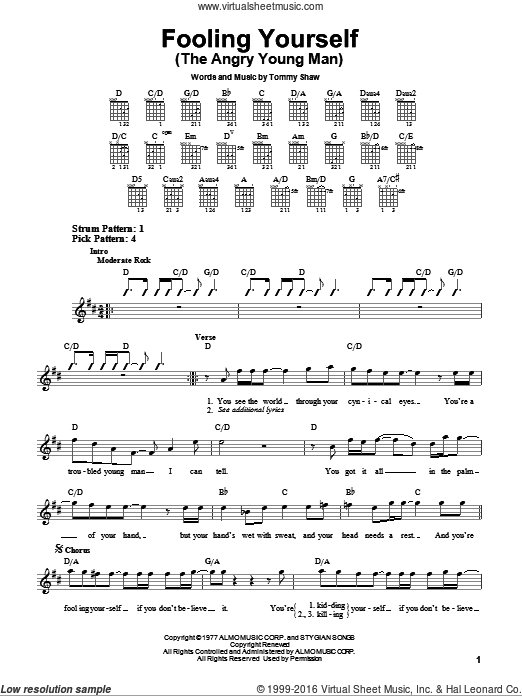 Fooling Yourself (The Angry Young Man) sheet music for guitar solo (chords) by Styx, easy guitar (chords). Score Image Preview.